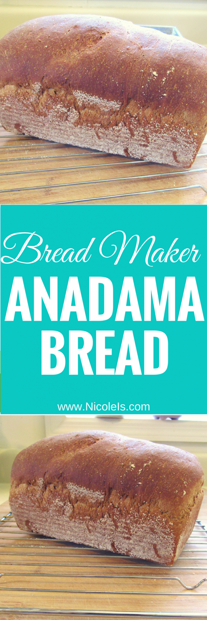 Bread Maker Anadama Bread - super easy and delicious! www.NicoleIs.com | Bread Machine Recipes | Bread Maker Recipes | Bread Recipes | Baking Bread | Sandwich Bread | Sandwich Rolls | Lunch Recipes | Homemade Bread | Baking | No Knead Bread |