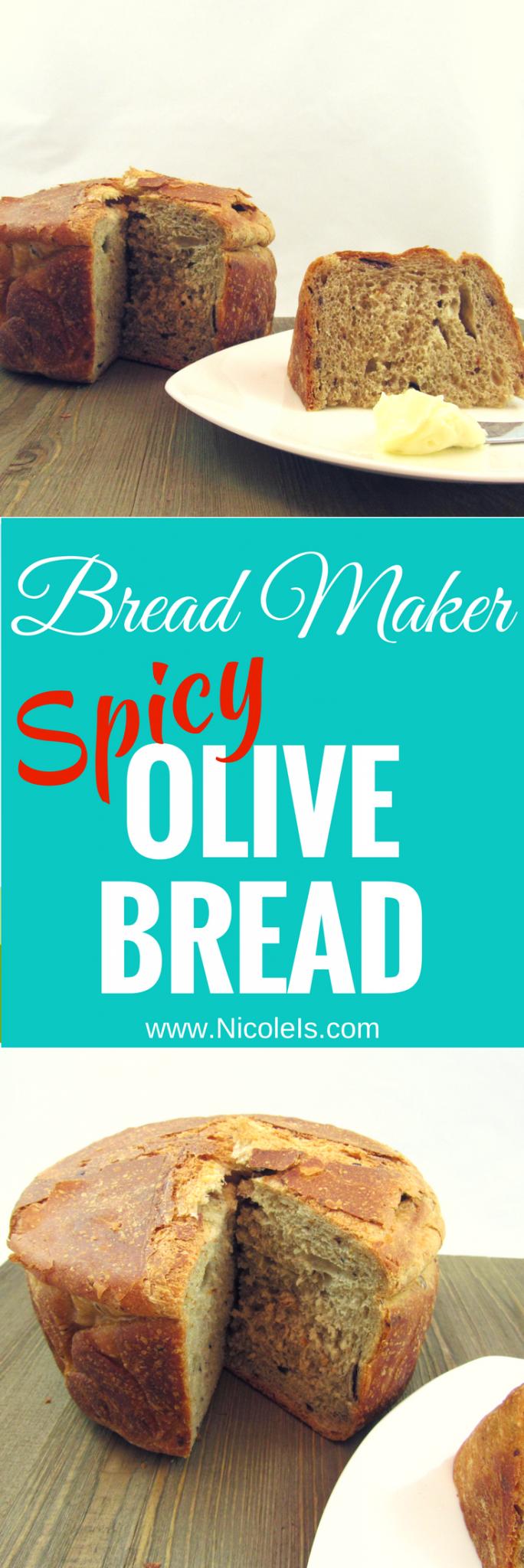Bread Maker Spicy Olive Bread - super easy and delicious! www.NicoleIs.com   Bread Machine Recipes   Bread Maker Recipes   Bread Recipes   Baking Bread   Sandwich Bread   Sandwich Rolls   Lunch Recipes   Homemade Bread   Baking   No Knead Bread  