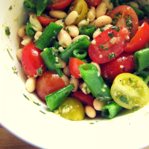 White Bean, Sugar Snap Pea, and Tomato Salad