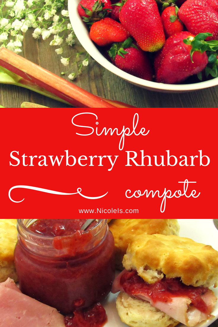 Simple Strawberry Rhubarb Compote | Nicole Is Hungry! All the sweet flavors of spring! Perfect with a Sunday ham, warm biscuits, or a topping for your favorite cake or ice cream! www.NicoleIs.com
