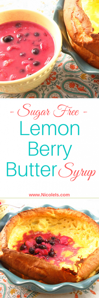 This Sugar Free Lemon Berry Butter Syrup is sweet, tangy, zippy, and buttery It is the perfect pancake, french toast, waffle, or crepe topping! Diabetic Dessert Recipe, Vegetarian, Low Carb
