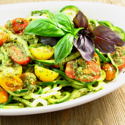 Almond Pesto Zoodles with Heirloom Tomatoes