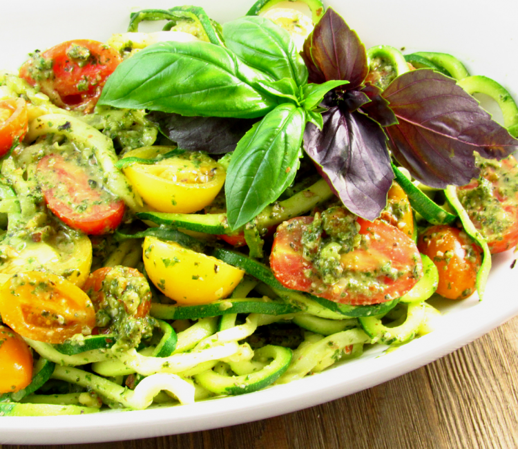 Toasted Almond Pesto Zoodles with Heirloom Tomatoes