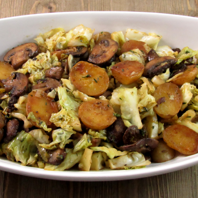 Potato, Mushroom, Cabbage Sautee | No Need to Measure Recipe Vegetarian, Vegan, Side Dish