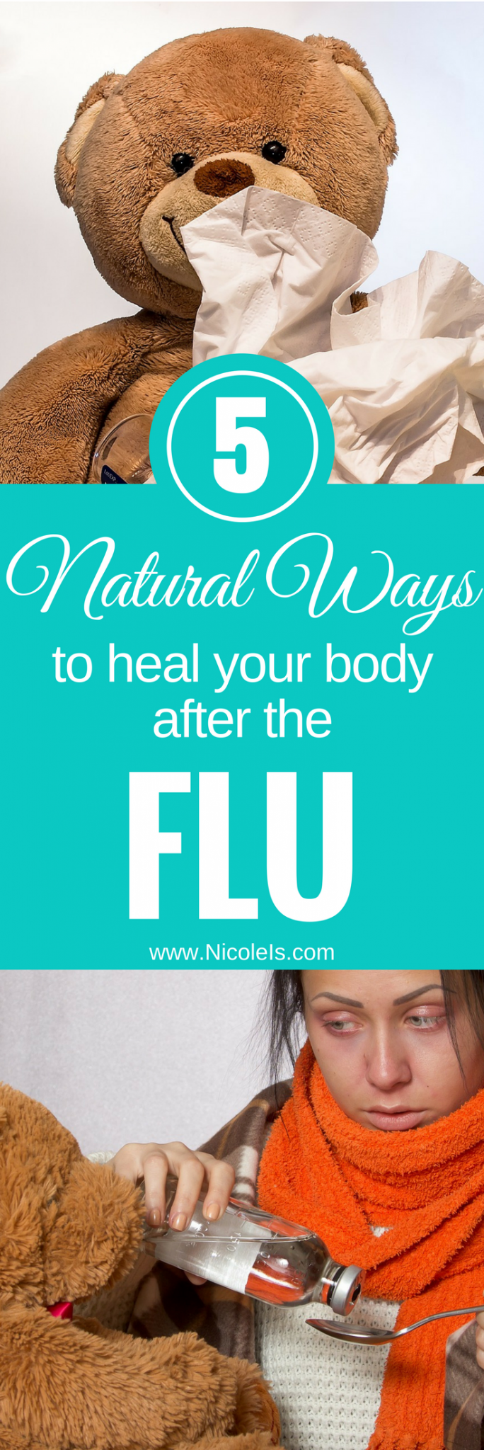 5 Natural Ways to Heal Yourself After The Flu | Nicole Is... | Flu remedies | Flu | Cold | Cold Remedies | Home Remedies | Holistic Medicine | Supplements | Probiotics | Fermented Foods | Kombucha | Kefir | CoQ10 | Echinacea Golden Seal | Turmeric | Health Benefits